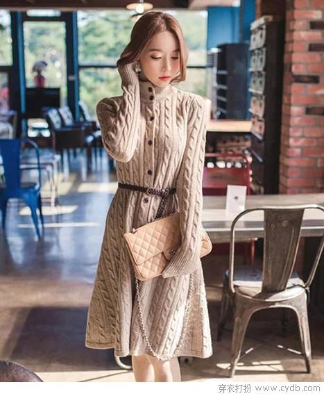 冬天再也不怕冷 毛衣裙助阵
